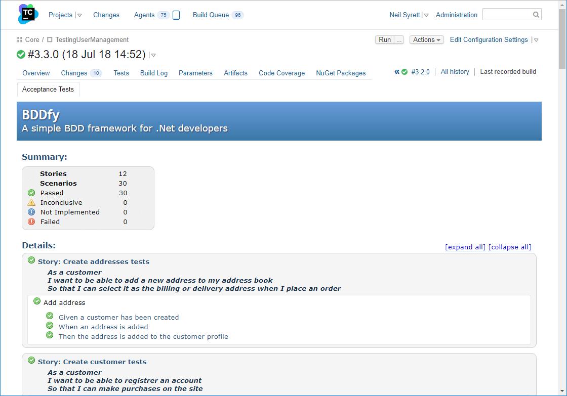 BDDfy test report