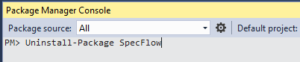 Uninstall SpecFlow